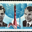 USSR - CIRCA 1974: A Stamp printed in USSR shows the cosmonauts — Stok fotoğraf