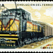 CUBA - CIRCA 1975 : A post stamp printed in Cuba shows moving tr - ストック写真