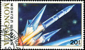 MONGOLIA - CIRCA 1989: stamp printed by Mongolia, shows spaceshi — Stock Photo