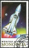 MONGOLIA - CIRCA 1989: stamp printed by Mongolia, shows spaceshi — Стоковое фото