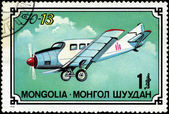 MONGOLIA- CIRCA 1976: A stamp printed in Mongolia shows airplane — Stockfoto