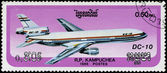 CAMBODIA - CIRCA 1986: stamp printed by Cambodia, shows airplane — Stock fotografie