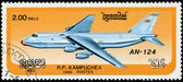 CAMBODIA - CIRCA 1986: stamp printed by Cambodia, shows airplane — Stock Photo