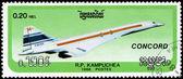 CAMBODIA - CIRCA 1986: stamp printed by Cambodia, shows airplane — Foto de Stock