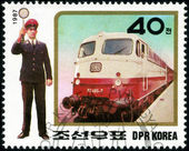 KOREA - CIRCA 1987: A stamp printed in Korea showing steam locom — Stock Photo