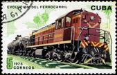 Kuba - ca 1975: En poststämpel tryckt i Kuba visar rörliga tr — Stockfoto