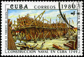 CUBA - CIRCA 1980: A stamp printed by the Cuban Post shows const — Zdjęcie stockowe