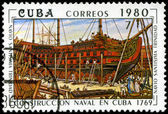 CUBA - CIRCA 1980: A stamp printed by the Cuban Post shows const — Stock Photo