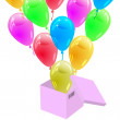 Glossy multicolored balloons flying out of the cardboard box. Ve — Stock Photo