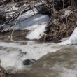 Spring snow melting on the river, in April — Stock Video