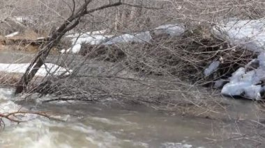 Spring snow melting on the river, in April — Vídeo Stock