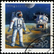 Stock Photo: USSR - CIRC1989: Stamps printed in Russidedicated to explora