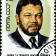USSR - CIRCA 1988: A stamp printed in USSR shows Nelson Rolihlah — Stock Photo