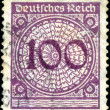 GERMANY - CIRCA 1924: A stamp printed in Germany shows 100 marks — ストック写真