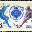 USSR - CIRCA 1981: A stamp printed in the USSR shows two hockey — Stock Photo