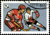 USSR - CIRCA 1996: A stamp printed in Russia shows the Ice Hock — Stock Photo
