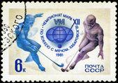 苏联-大约 1981年: 一枚邮票印在苏联显示两个曲棍球 — 图库照片