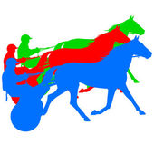 Vector silhouette of horse and jockey — Stok fotoğraf
