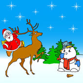 Santa claus rides on deer and snowman — Stock Photo