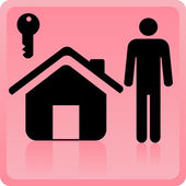 Person and house icon — Stock Vector