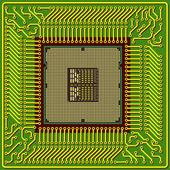 The modern computer is the processor on a chip — Stockvektor