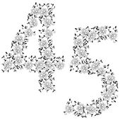 Hand drawing ornamental alphabet. Letter 45 — Stock Vector