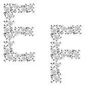 Dibujo alfabeto ornamental de la mano. ef carta — Vector de stock