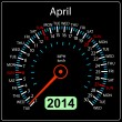 2014 year calendar speedometer car in vector. April. — Stock Vector