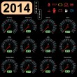 Stock Vector: 2014 year calendar speedometer car in vector.