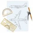 Exercise book with a drawing for a model airplane. Vector illust — Stock Vector