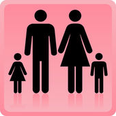 Vector Man & Woman icon with children — Stock Vector