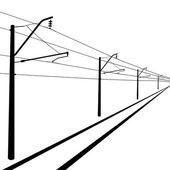 Railroad overhead lines. Contact wire. Vector illustration. — Stock Vector