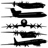 Collection of different airplane silhouettes. — Stock Vector