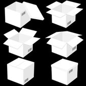 Six boxes, isolated on black background. Vector illustration. — Stock Vector