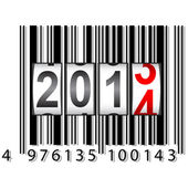 2014 New Year counter, barcode, vector. — ストックベクタ