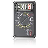 мультиметр новый год 2014 на белом фоне, вектор. — Cтоковый вектор
