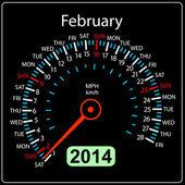 Anno 2014 calendario tachimetro auto in vettoriale. febbraio. — Vettoriale Stock