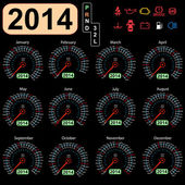 2014 year calendar speedometer car in vector. — ストックベクタ