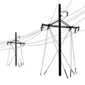 Silhouette of high voltage power lines. Vector illustration. — Cтоковый вектор
