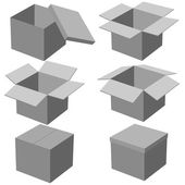 Six boxes, isolated on white background. Vector illustration. — Stock Vector