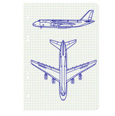 Exercise book with a drawing for a model airplane. Vector illust — Vettoriale Stock