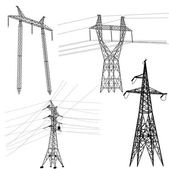 Set silhouette of high voltage power lines. — Stockvector