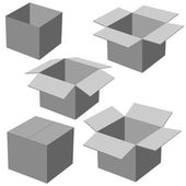 Five boxes, isolated on white background. Vector illustration. — Stock Vector