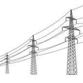 Silhouette of high voltage power lines. Vector illustration. — Stock Vector