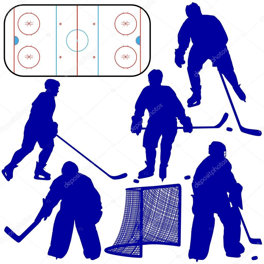 组的冰球运动员剪影.孤立在白纸上.矢量