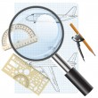 Magnifying glass icon, drawing aircraft. Vector illustration. — Stock Vector
