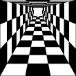 Abstract background, chess corridor tunnel. Vector illustration. — Stock Vector