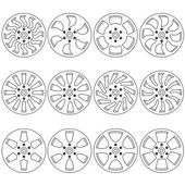 Car alloy wheels, vector illustration — Stock Vector