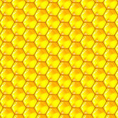 Golden cells of a honeycomb pattern. Vector illustration. — Vector de stock