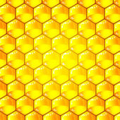Golden cells of a honeycomb pattern. Vector illustration. — Cтоковый вектор